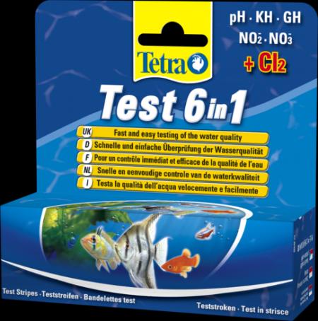 Tetra Test 6 in 1 25 тестирующих полосок Тесты для воды 6 в 1