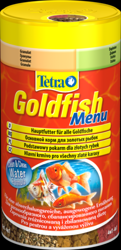 Tetra Goldfish Menu 250 мл Тетра Голдфиш Меню Корм для золотых рыбок 4 корма