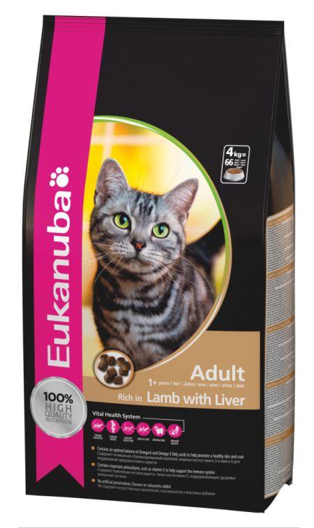 Eukanuba Adult 10кг Корм для взрослых кошек на основе ягнёнка и печени 10кг.