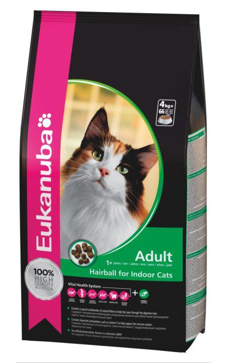 Eukanuba Adult Hairball - Indoor 4kg. Корм для взрослых кошек, склонных к образованию волосяных комочков в желудке 4кг.